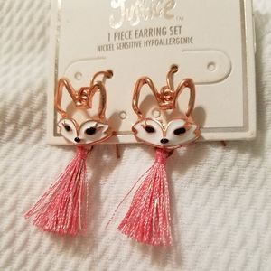 Justice fox earrings.